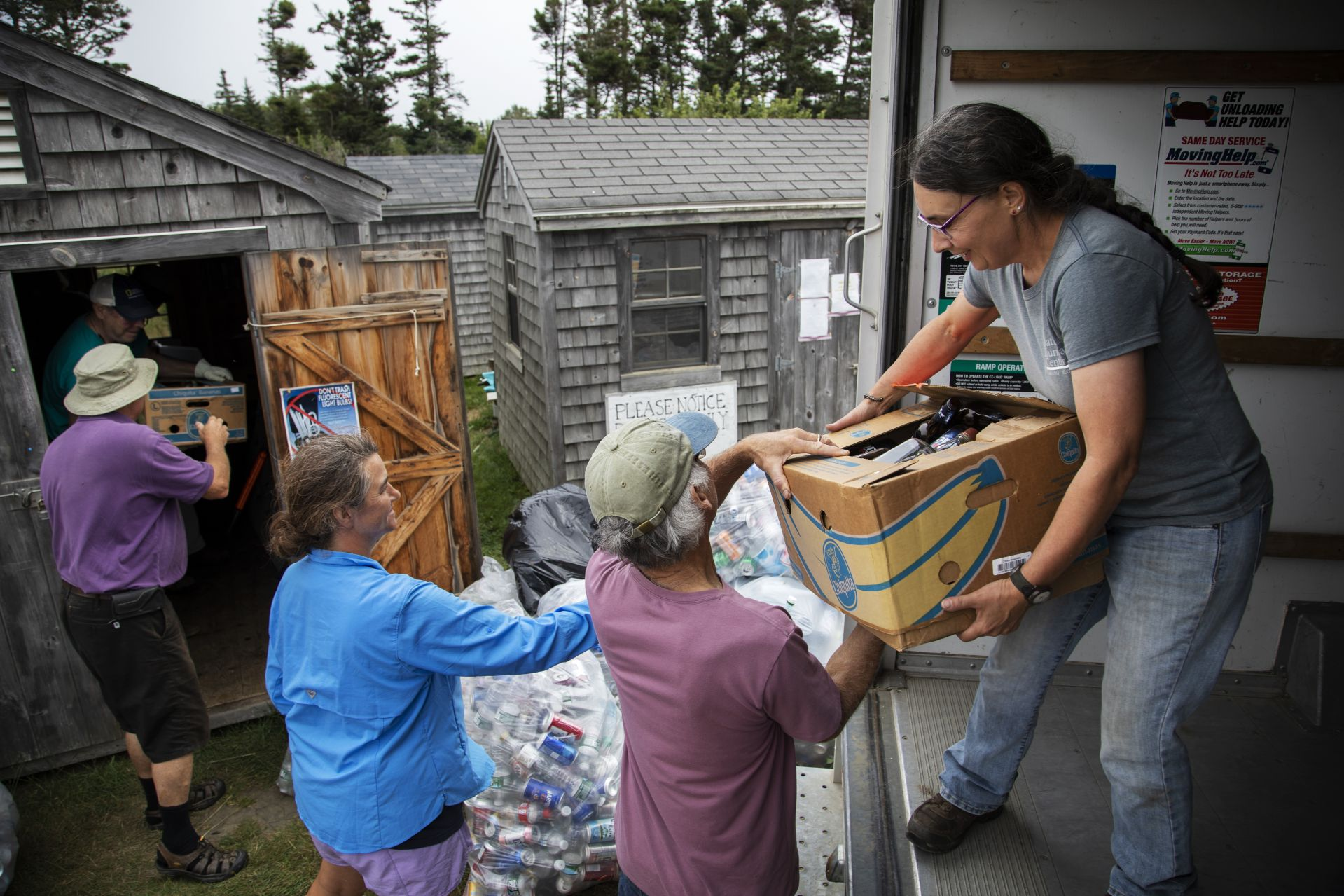 Eva Meltzer Murray Õ85 leads residents on Matinicus Island while loading a U-Haul full of recycling to be delivered mainland on August 7, 2019.A book author and essayist, sheÕs been a year-round resident of Matinicus Island for more than 30 years, starting as a teacher and now a leading island citizen involved in many island issues.