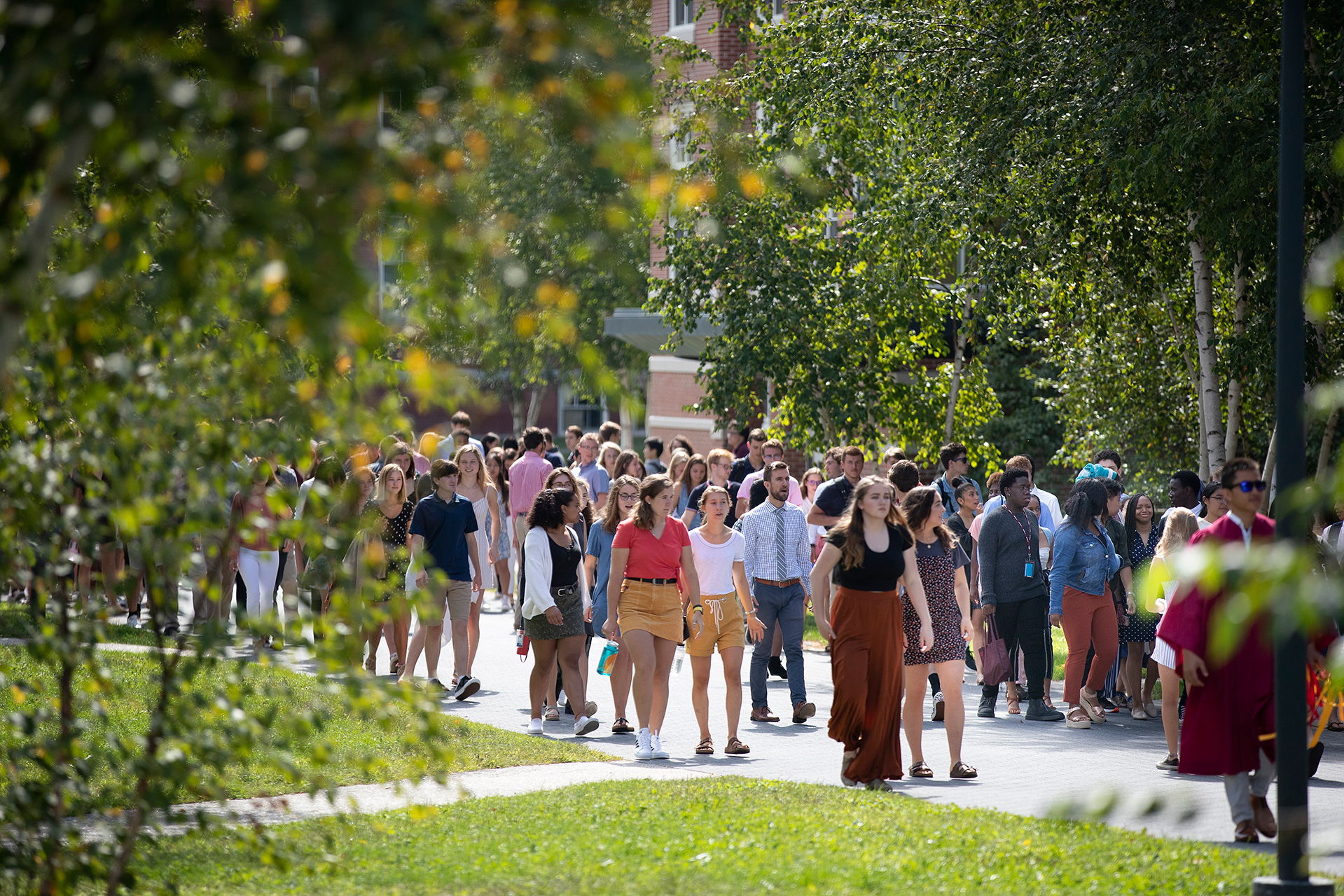 Shortly before the start of Opening Convocation, members of the Class of 2013 find their places on Alumni Walk for the ceremonial procession. (Phyllis Graber Jensen/Bates College)