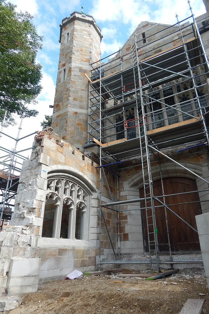 Missing roof, floor, and some wall stones, the Gomes Chapel portico is shown on Sept. 4, 2019. (Doug Hubley/Bates College)