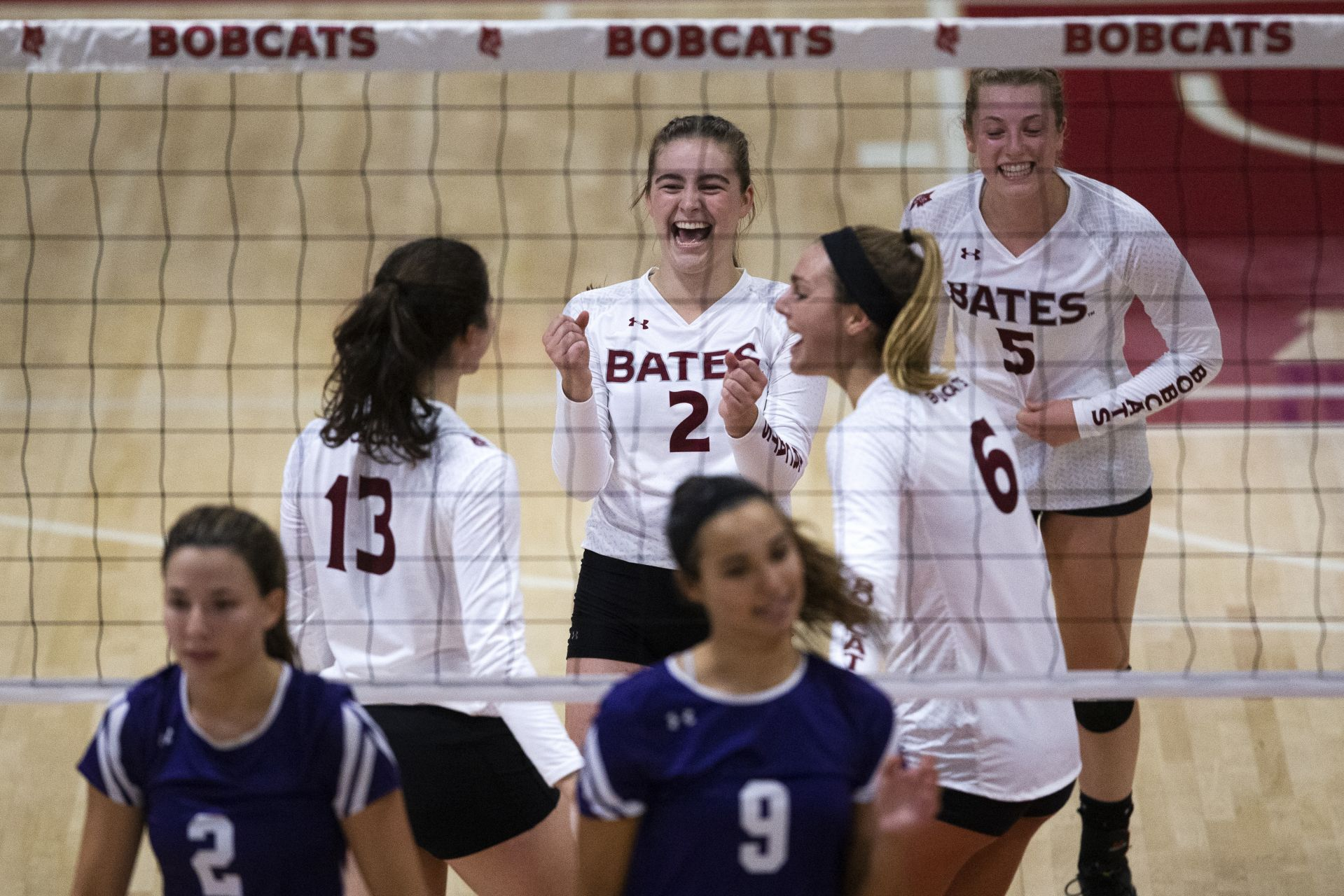Bates loses to Amherst 3-2 at Bates Reacting to a winning point vs. Amherst during their match on Sept. 21 are volleyball players Samantha Schecter '20 of Riverside, Conn., Emma Eide '23 of Ramsey, N.J., Delaney Mayfield '21 of Santa Barbara, Calif., and Olivia McCulloch '21 of Sunderland, Mass.