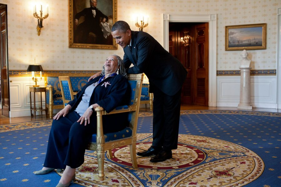 President Barack Obama talks with Presidential Medal of Freedom recipient Toni Morrison in the Blue Room of the White House, May 29, 2012. (Official White House Photo by Pete Souza)This official White House photograph is being made available only for publication by news organizations and/or for personal use printing by the subject(s) of the photograph. The photograph may not be manipulated in any way and may not be used in commercial or political materials, advertisements, emails, products, promotions that in any way suggests approval or endorsement of the President, the First Family, or the White House.Ê