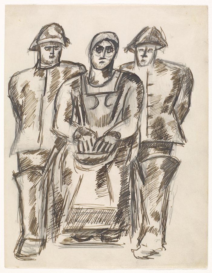 Marsden Hartley (American, 1877-1943)[Study for The Lost Felice], ca. 1938 Black and brown ink with graphite on paper, 10 3/8 x 7 7/8 in. Gift of Norma Berger 1955.1.44