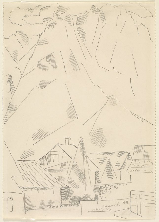 Marsden Hartley (American, 1877-1943)Garmisch, October 13, 1933 Graphite on paper, 9 7/8 x 7 in. Gift of Norma Berger 1955.1.28