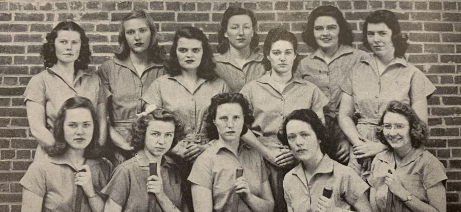 Dorothy Foster Kern '42, pictured first row, center, was the goaltender on the Bates field hockey team. (Muskie Archives & Special Collections)