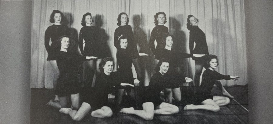 Pictured third row, second from right in the 1942 Mirror, Dorothy Foster Kern '42 remembers the striking all-black outfits the Modern Dance Company wore. (Muskie Archives & Special Collections)