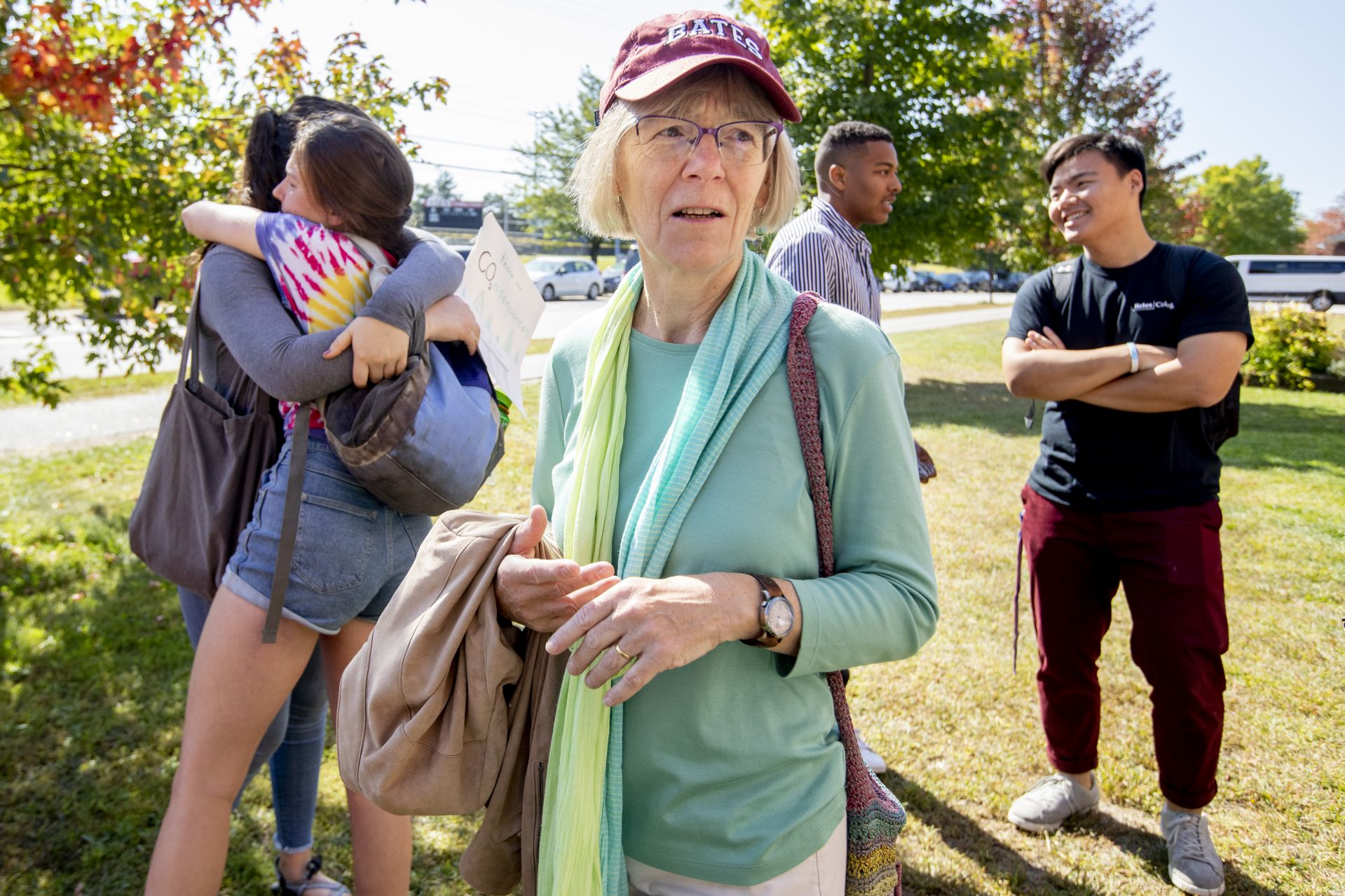 With the student bus nearing capacity, Costlow waits to see if she needs to drive students to the Climate Strike in Portland on Sept. 20. (Phyllis Graber Jensen/Bates College)