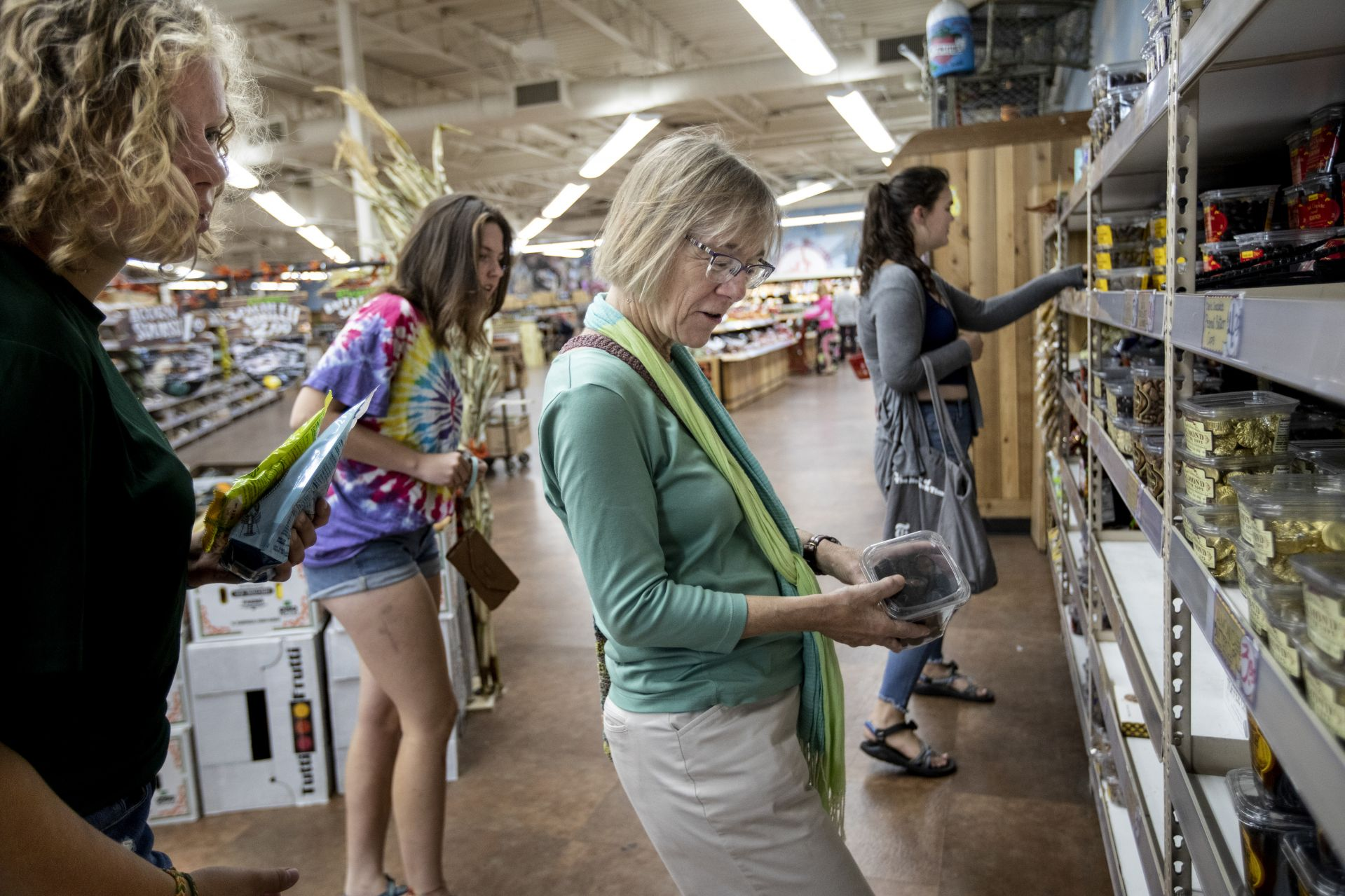 A trip to a Trader Joe's store in Portland became a teachable moment for the three young students who accompanied Jane Costlow to the Climate Strike in Portland on Sept. 20. (Phyllis Graber Jensen/Bates College)
