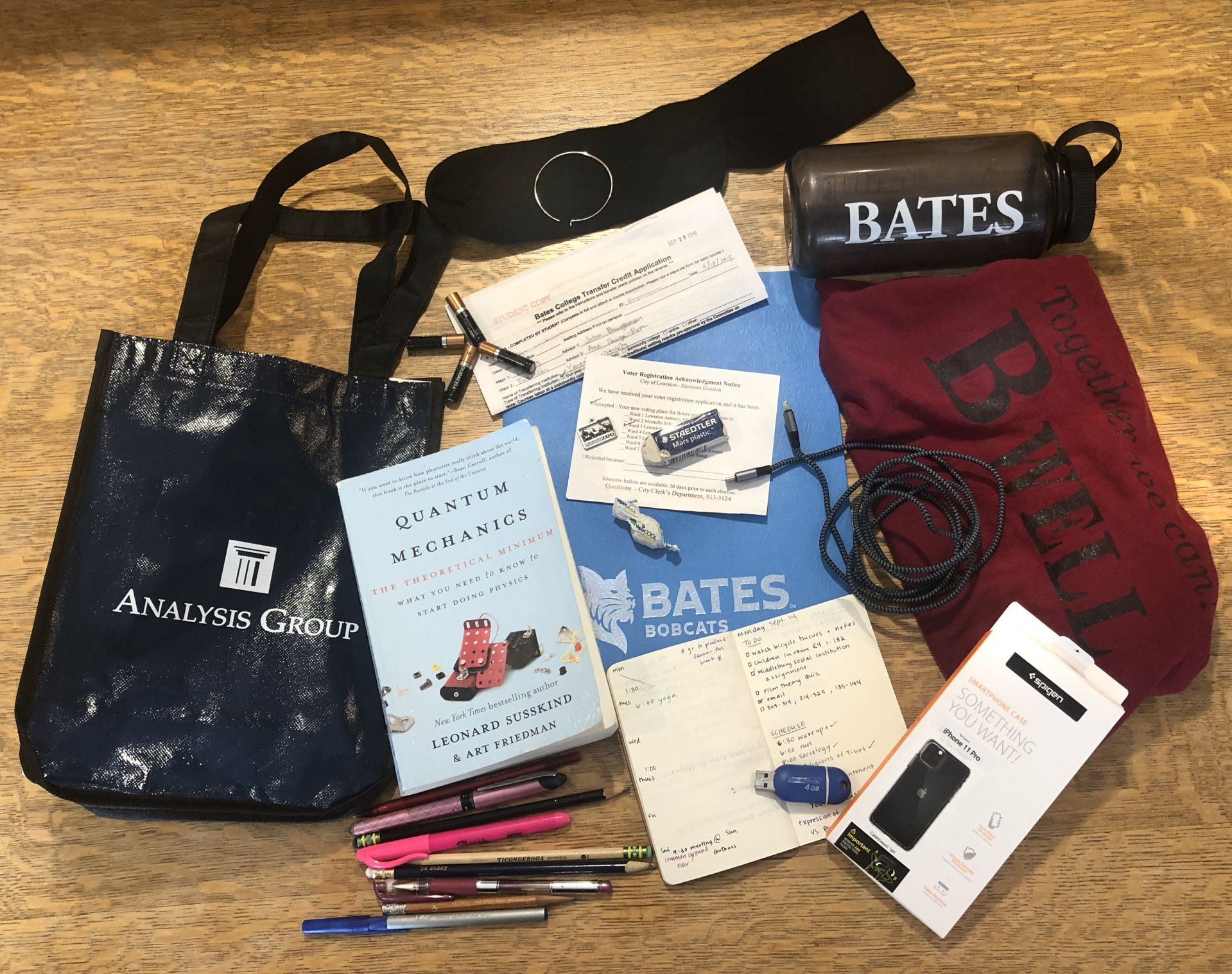 Items in the Ladd Library Lost & Found on Sept. 25, 2019. (Jay Burns/Bates College)