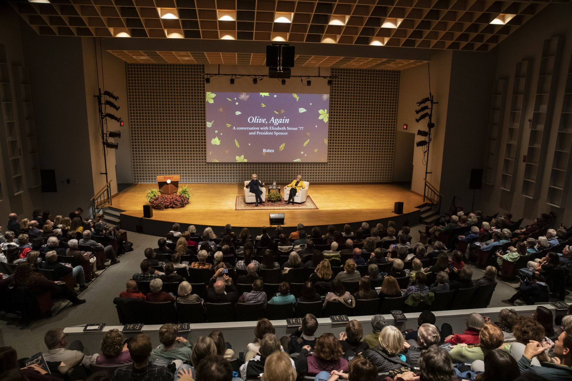The appearance by Pulitzer Prize–winning author Elizabeth Strout '77, interviewed by Bates President Clayton Spencer, filled the Olin Arts Center Concert Hall on Oct. 21. (Phyllis Graber Jensen/Bates College)