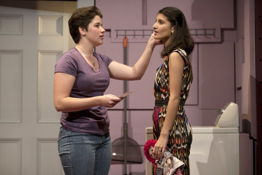 Muskan Verma '21 plays Liz and Hale Murch '22 is Abbie in Love/Sick. (Phyllis Graber Jensen/Bates College)