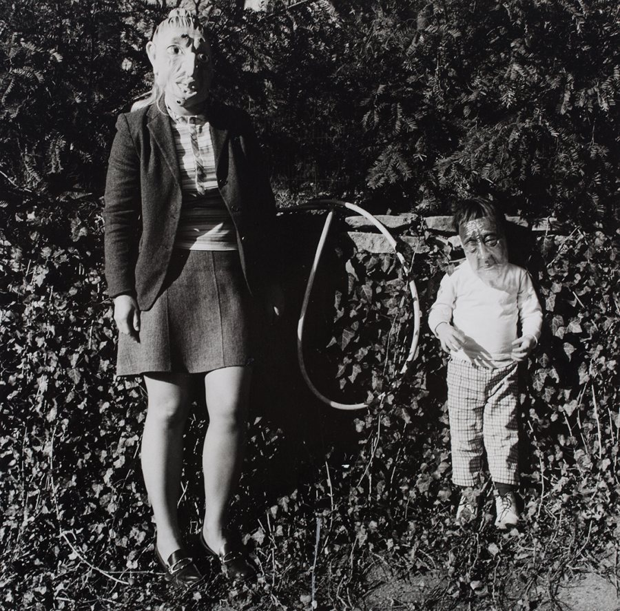 "Ralph Eugene Meatyard, ""Lucybelle Crater and one of the 7 kids of Mertonia friend Lucybelle Crater,"" ca. 1969-72, gelatin silver print. ( © The Estate of Ralph Eugene Meatyard, courtesy Fraenkel Gallery, San Francisco, and DC Moore Gallery, New York)"