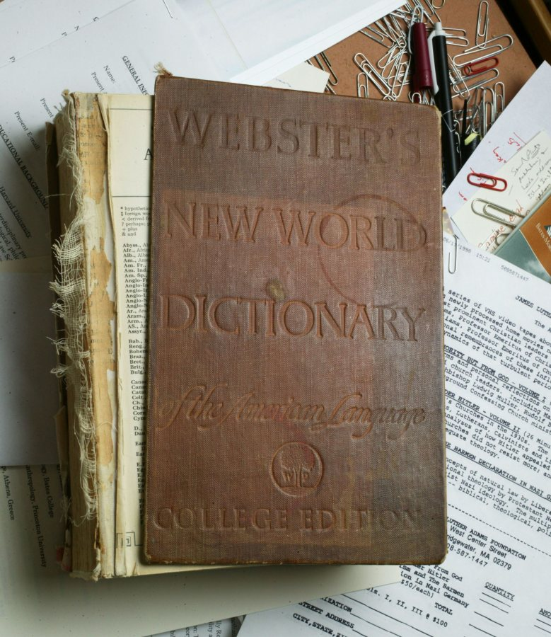 Carl Straub's dictionary, purchased on his first day as a Colgate undergraduate. (Phyllis Graber Jensen/Bates College)