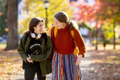 Fall afternoon on Campus, walking up the historic Quad.Hlloe Warshaw '23 of Westwood, Mass., and Ilana Rosker '23 of Lexington, Mass. They ran into each other on their way to class and parted ways once they reached Hathorn Hall.