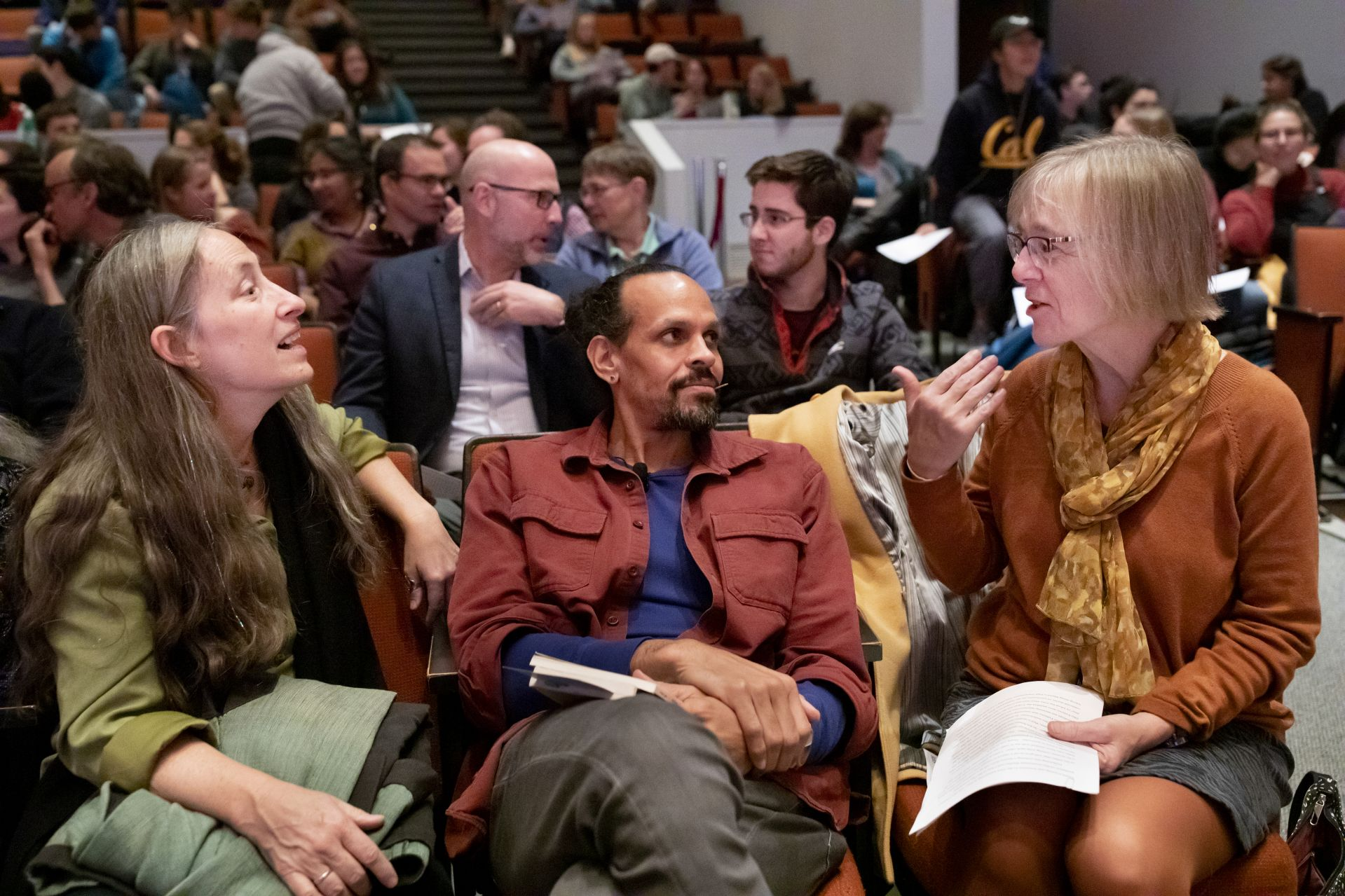 Professor of Religious Studies Cynthia Baker joins Ross Gay and Costlow before his Otis presentation in the Olin Arts Center Concert Hall. (Phyllis Graber Jensen/Bates College)