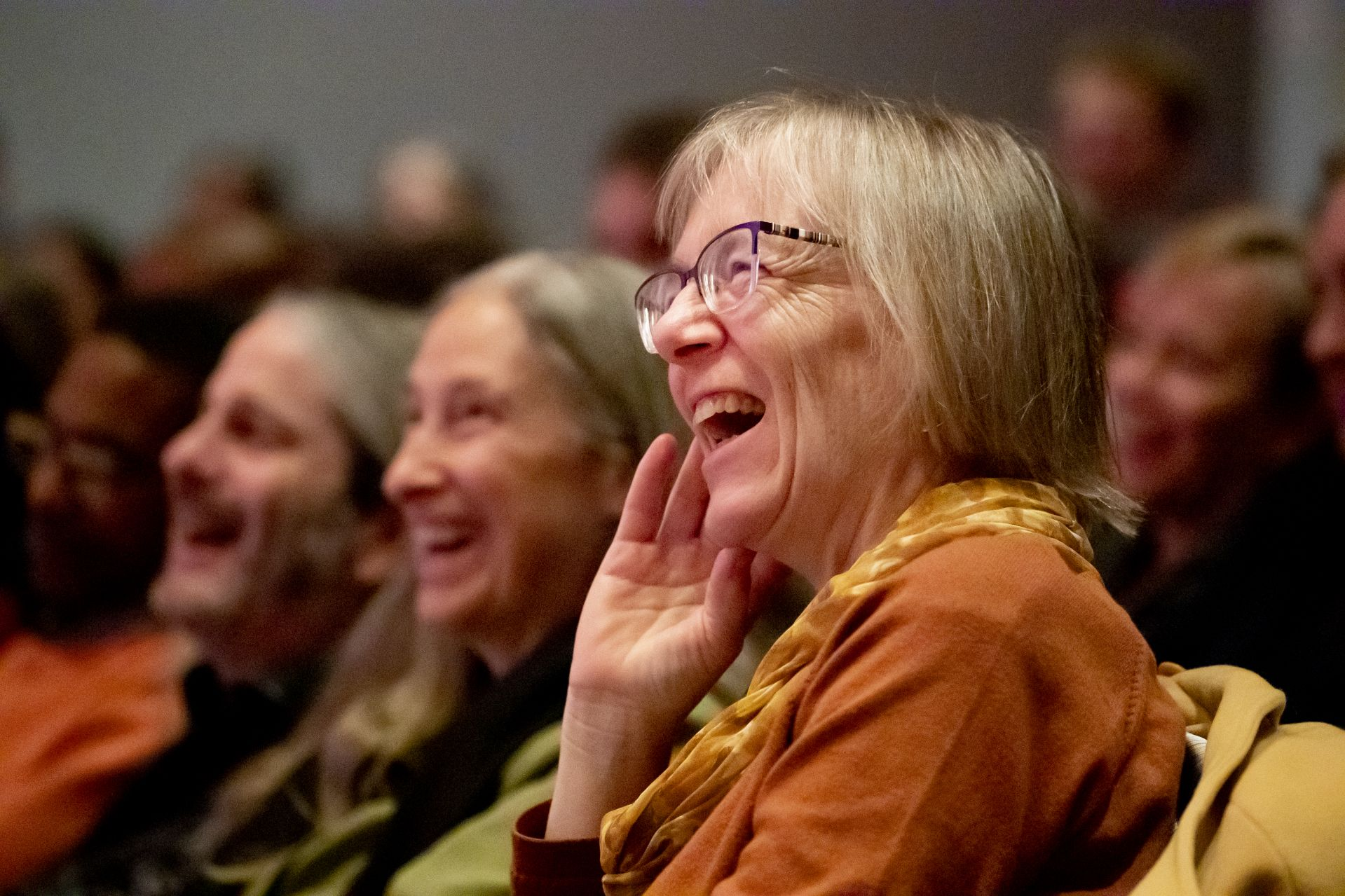 Ross's reading prompted lots of laughter. (Phyllis Graber Jensen/Bates College)