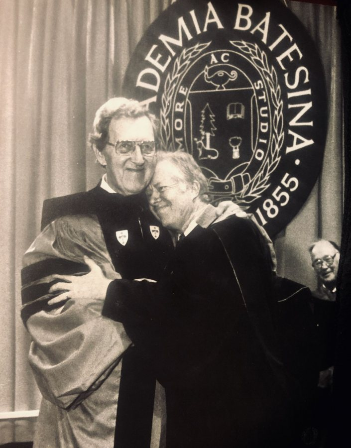 Former President Jimmy Carter hugs Edmund Muskie '36 during ceremonies dedicating the Muskie Archives at Bates College on Sept. 28, 1985. Muskie served as secretary of state. (Frank Siteman)