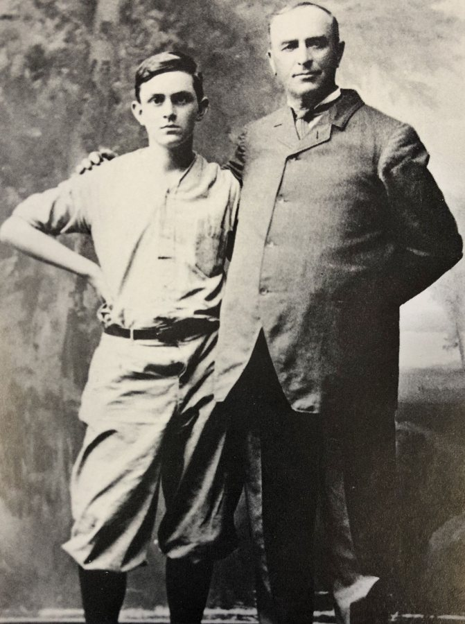 W. Scott Libbey poses with his son W. Scott Jr. in 1911.