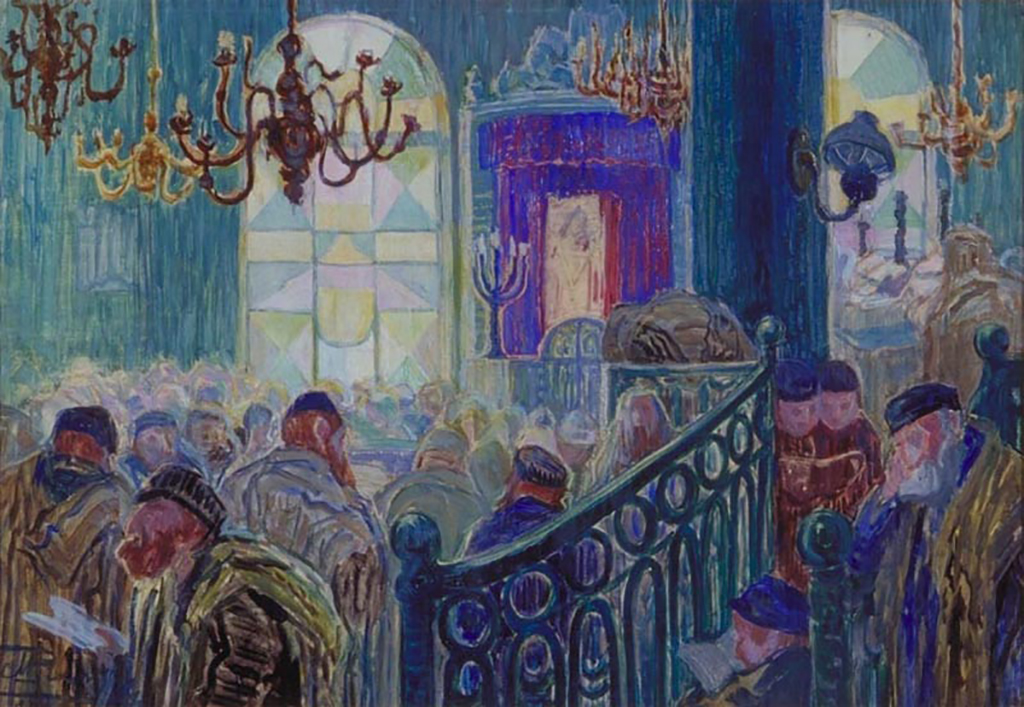 A scene in a synagogue painted by Moshe Rynecki.