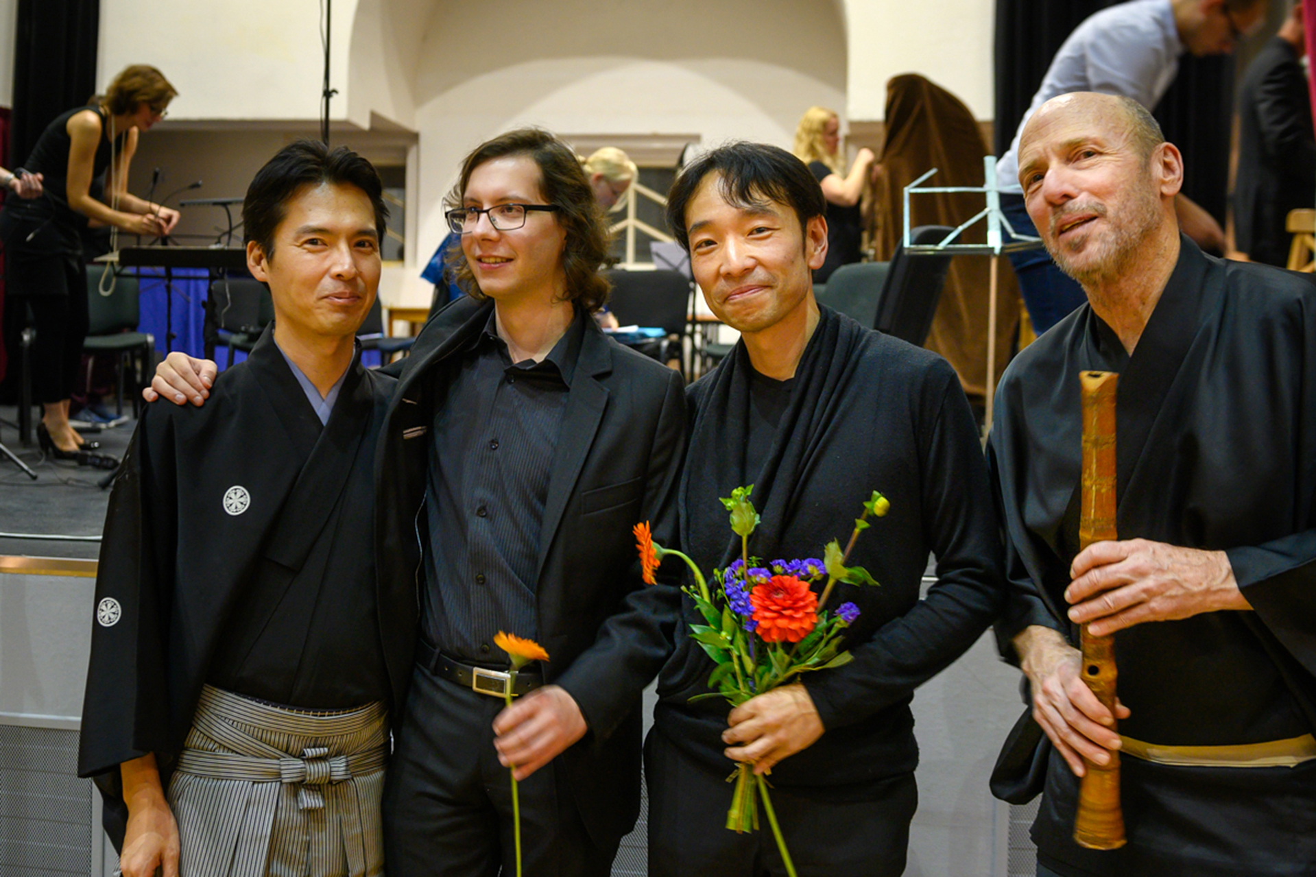 Shown just after the close of the 2019 International Shakuhachi Festival Prague are, from left, shakuhachi player Akihito Obama, festival director Marek Kimei Matvija, Bates composer Hiroya Miura, and shakuhachi player John Kaizan Neptune. (Karel Suster/Courtesy of the BERG Orchestra)