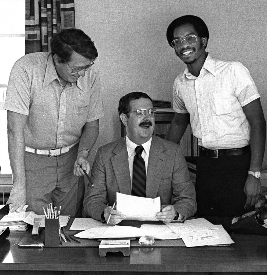 Circa 1980, Carl Straub (center) poses with Dean of the College James Carignan '61 (left) and Associate Dean James Reese. (Muskie Archives and Special Collections Library)