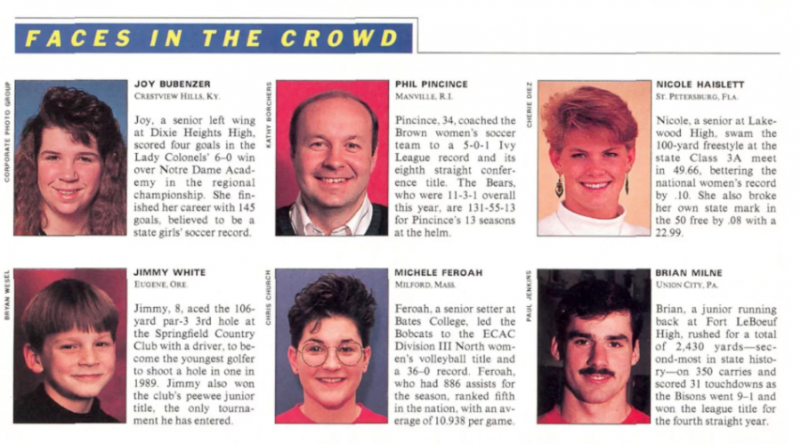 "Michele Feroah '90 was featured in the Jan. 22, 1990, edition of Sports Illustrated's ""Faces in the Crowd."""