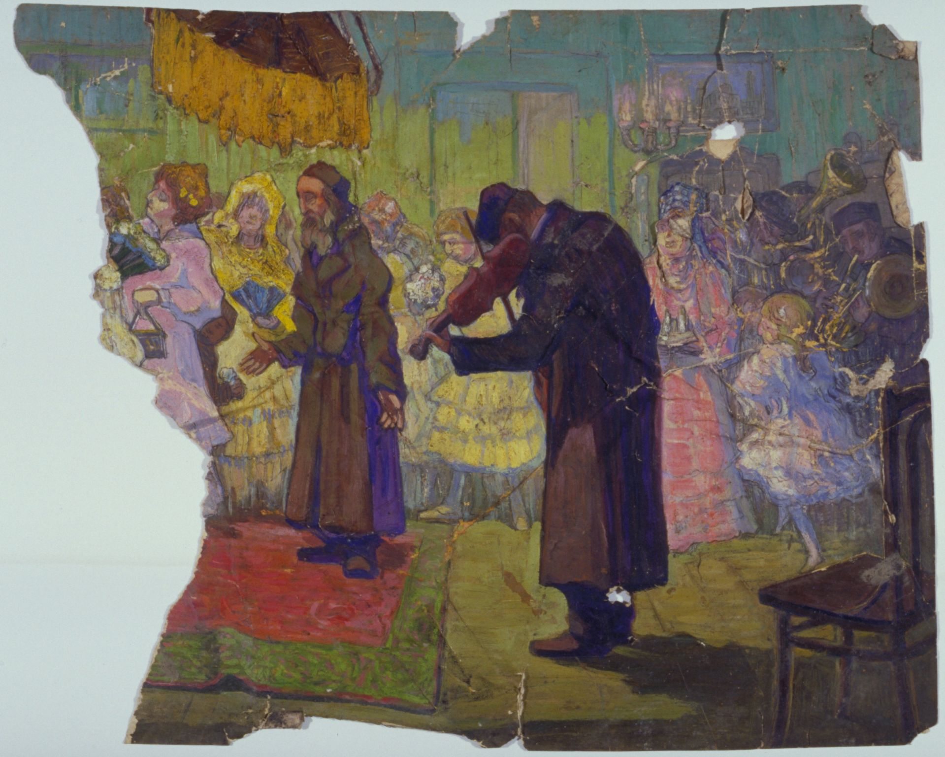 Moshe Rynecki's painting of a wedding tells its story despite the damage inflicted on it.