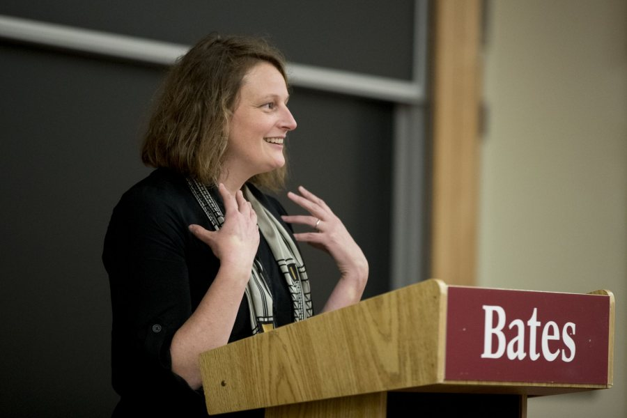 "Shown introducing a Literary Arts Live guest in 2017, Jessica Anthony '96 reads from her new novel, ""Enter the Aardvark,"" in an LAL presentation on Jan. 16. (Phyllis Graber Jensen/Bates College)"