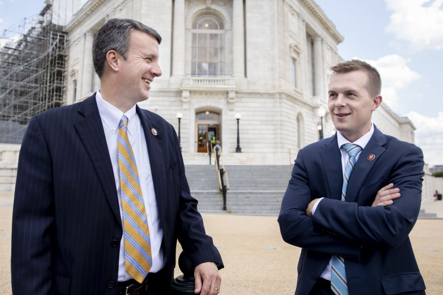 Reps. Jared Golden '11 and Ben Cline '99