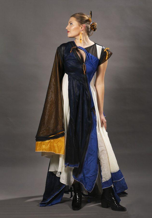 Talia Sperduto '21 of Canterbury, N.H., models her own design.