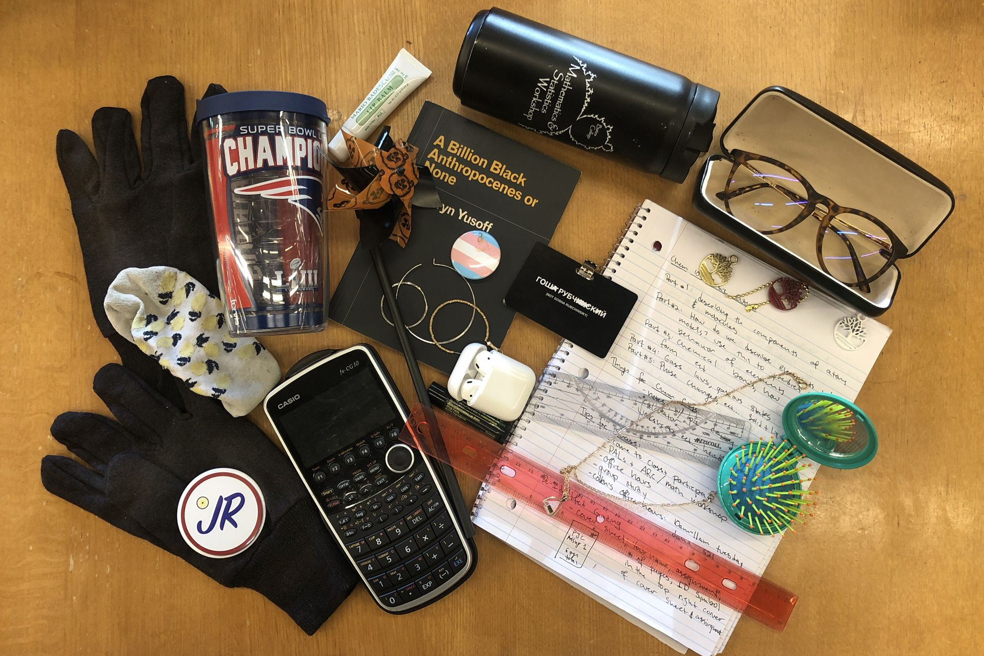 Items seen in the library's Lost & Found on Dec. 13, 2019. (H. Jay Burns/Bates College)