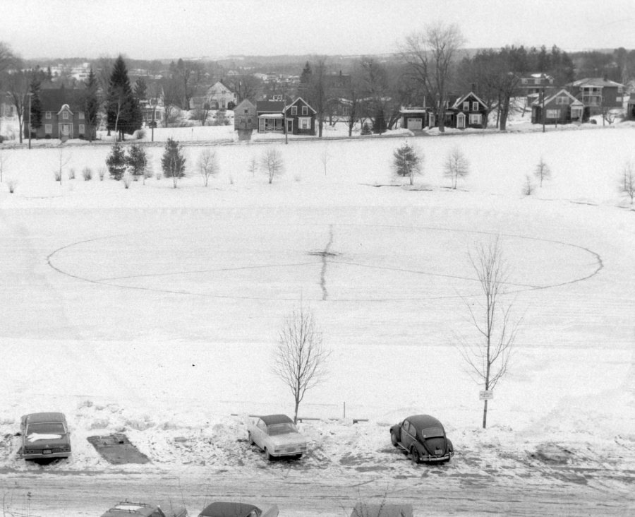 This peace sign appeared on Lake Andrews circa 1970. (Muskie Archives and Special Collections Library)