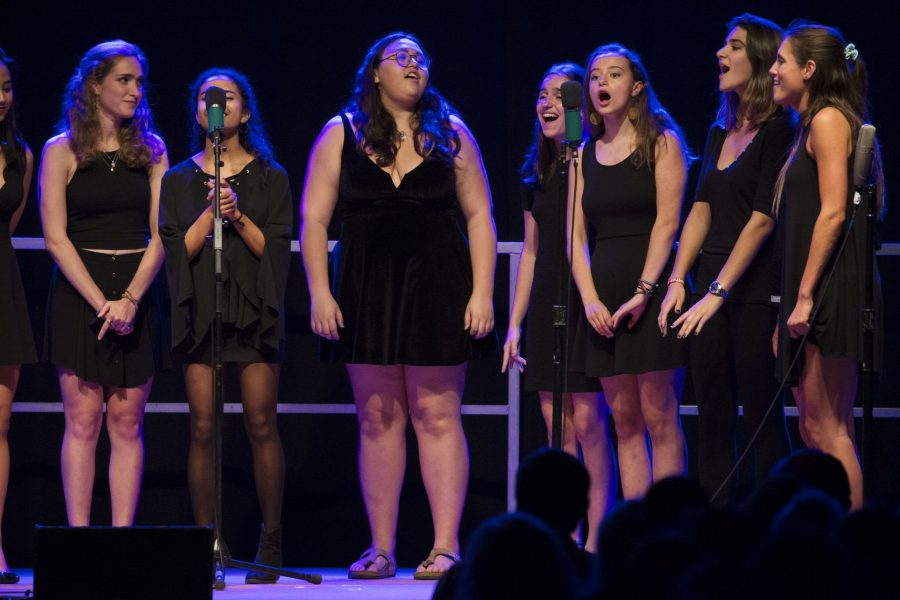 The Merimanders perform during an a cappella Concert at the Clifton Daggett Gray Athletic Building during the Back to Bates Weekend. The Merimanders are the only all-female a cappella group at Bates College.(Theophil Syslo/Bates College)