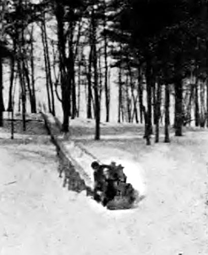 The 1935 Outing Club toboggan chute in action. (Muskie Archives and Special Collections Library)