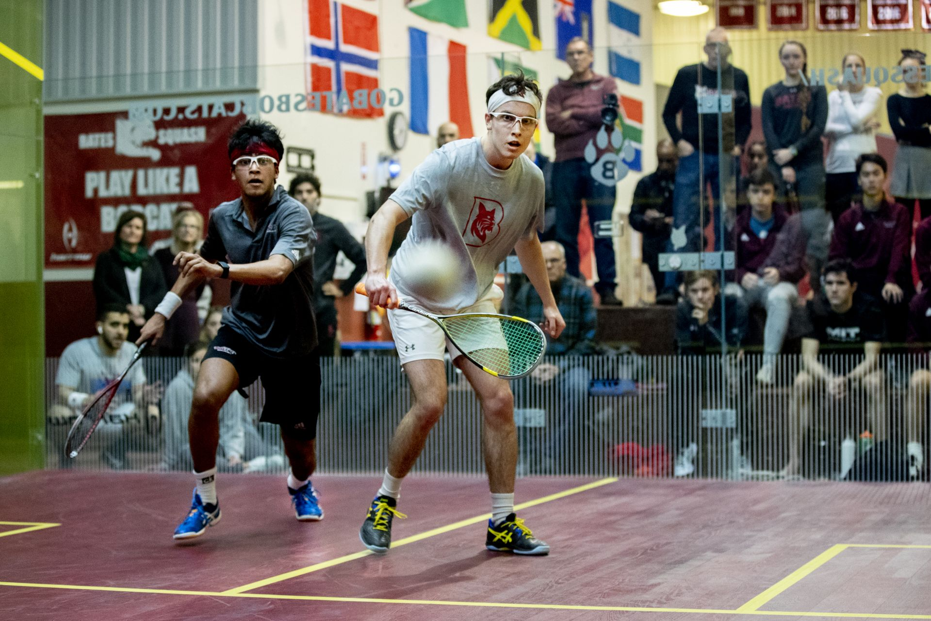 MIT men's squash defeats Bates men's squash 6-0 in home match.