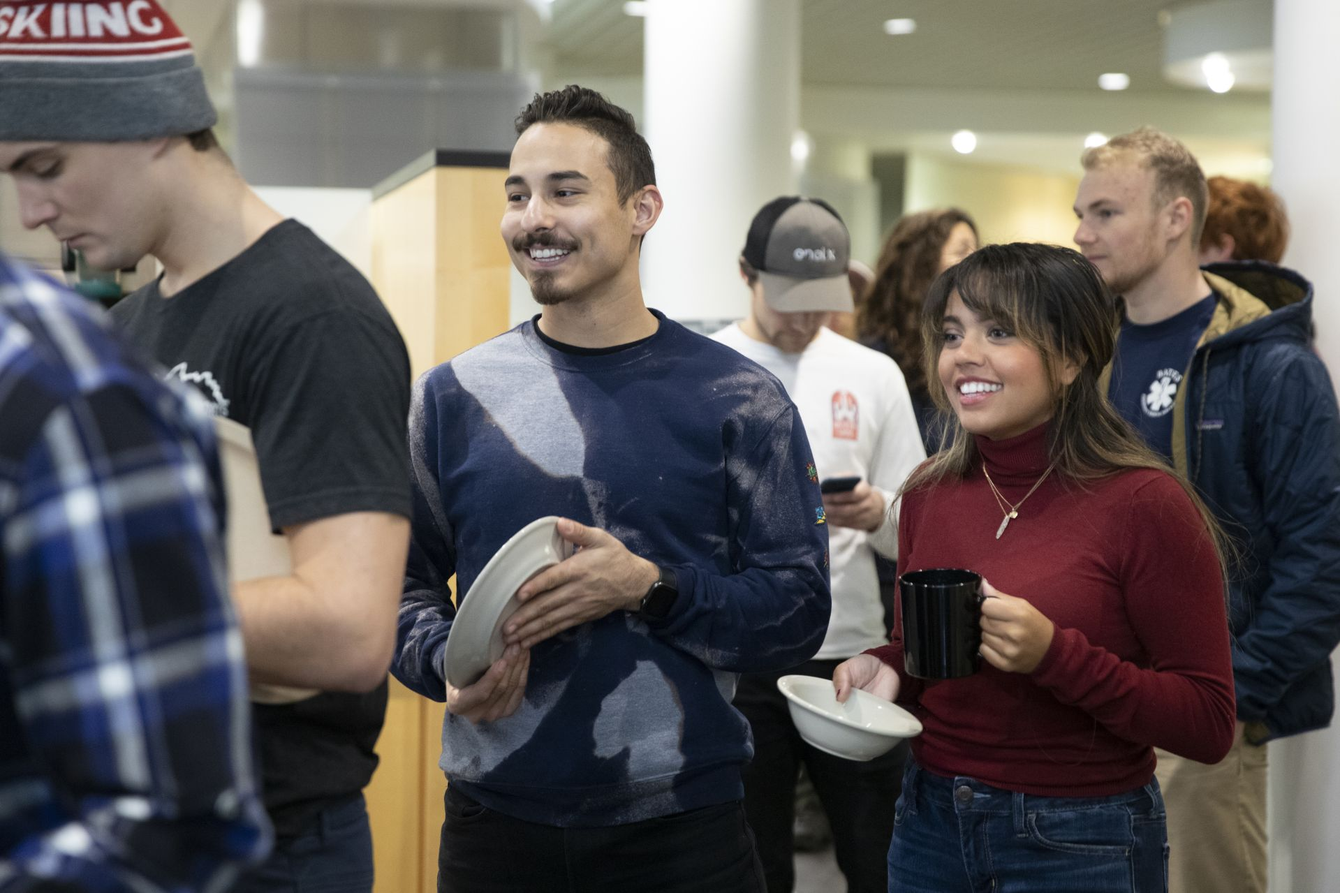 Andrew Garcia-Bou '20 of Eastchester, N.Y., and Ke'ala Brosseau '20 of Burlington, Vt., have lunch in Commons and display their nutritional choices before chowing down.
