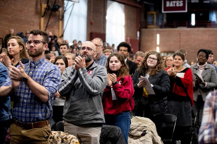 A standing ovation follows Jennifer Eberhardt's 2020 MLK Day Keynote Address. (Phyllis Graber Jensen/Bates College)
