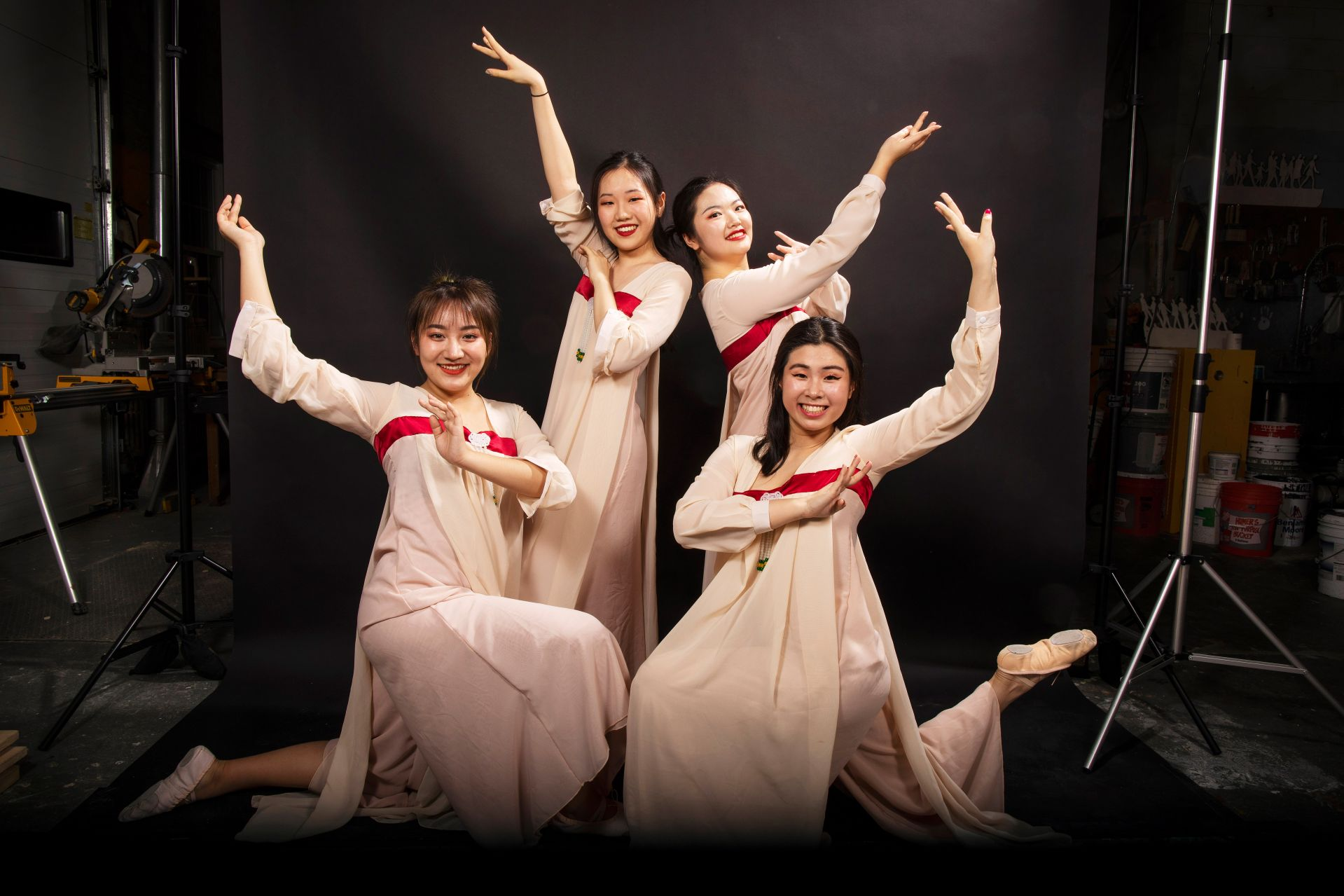 From left, Yoyo Tang '22, Scarlett Wang '23, Sophia Zhang '23, and Yun Zhang '23.