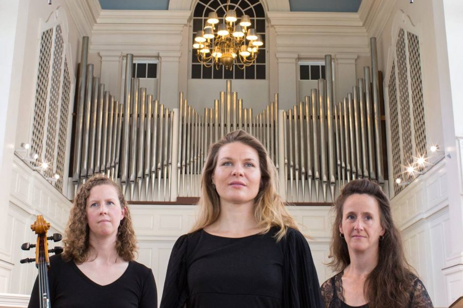 The Resinosa Ensemble: from left, cellist Eliza Meyer, mezzo-soprano Joëlle Morris, pianist Bridget Convey. (Drew Cornwall)