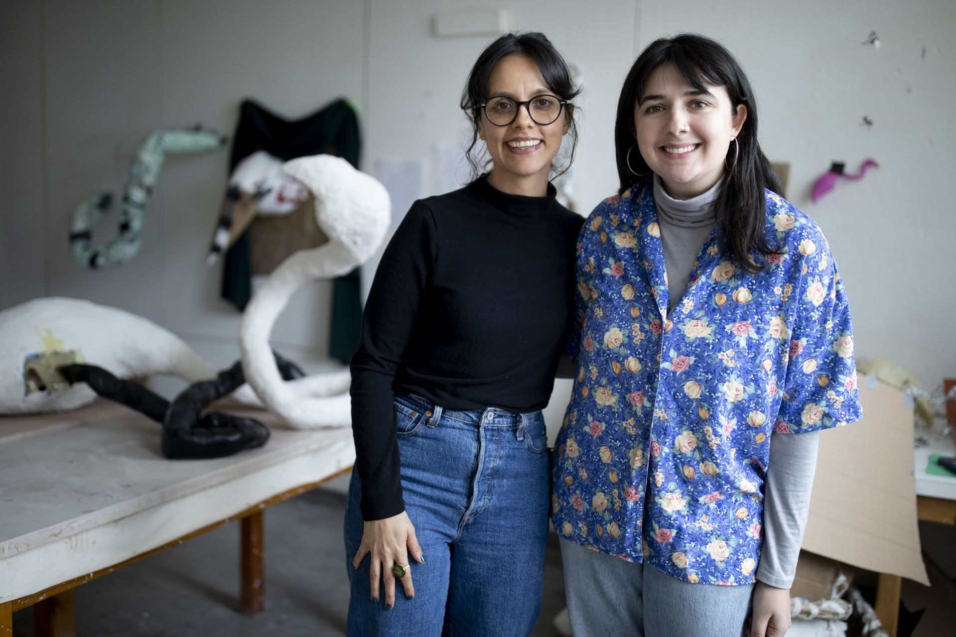 Eden Rickolt '20 of Landenberg, Pa., with Carolina Gonzalez Valencia, assistant professor of art and visual culture, in Rickolt's visual art senior thesis studio on the ground floor of the Olin Arts Center.