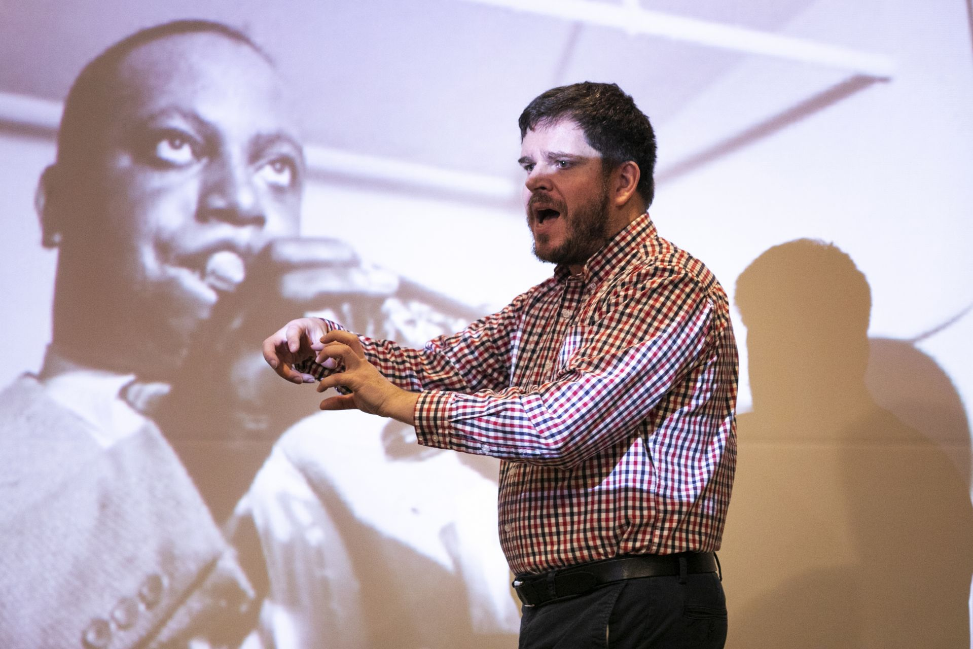 """Moments from inside Dale Chapman's course """"History of Jazz"""" in Olin 105 on Wednesday February 5, 2020."""