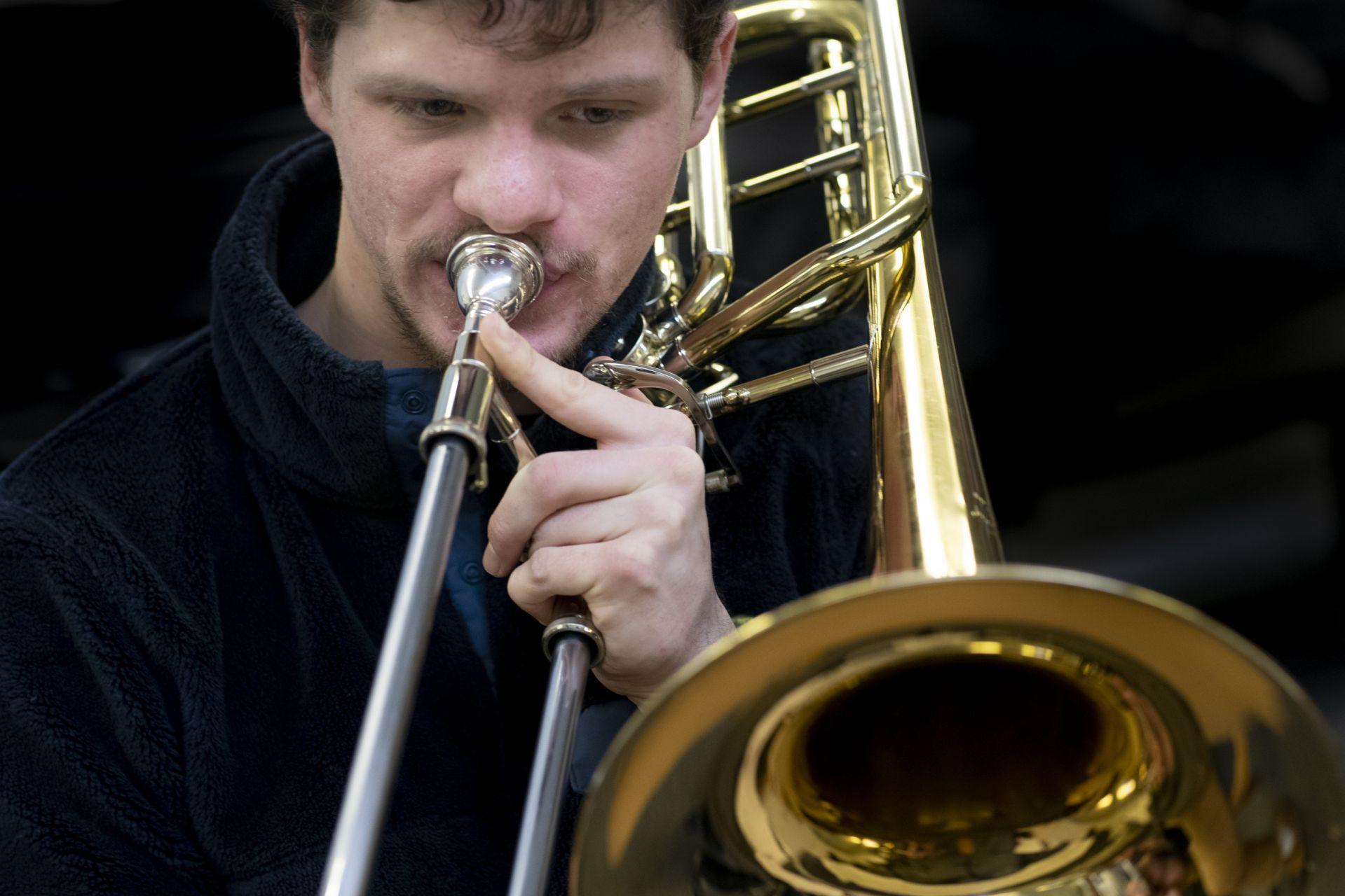 Olin Arts CenterAlan Carr with brass ensemble rehearsal