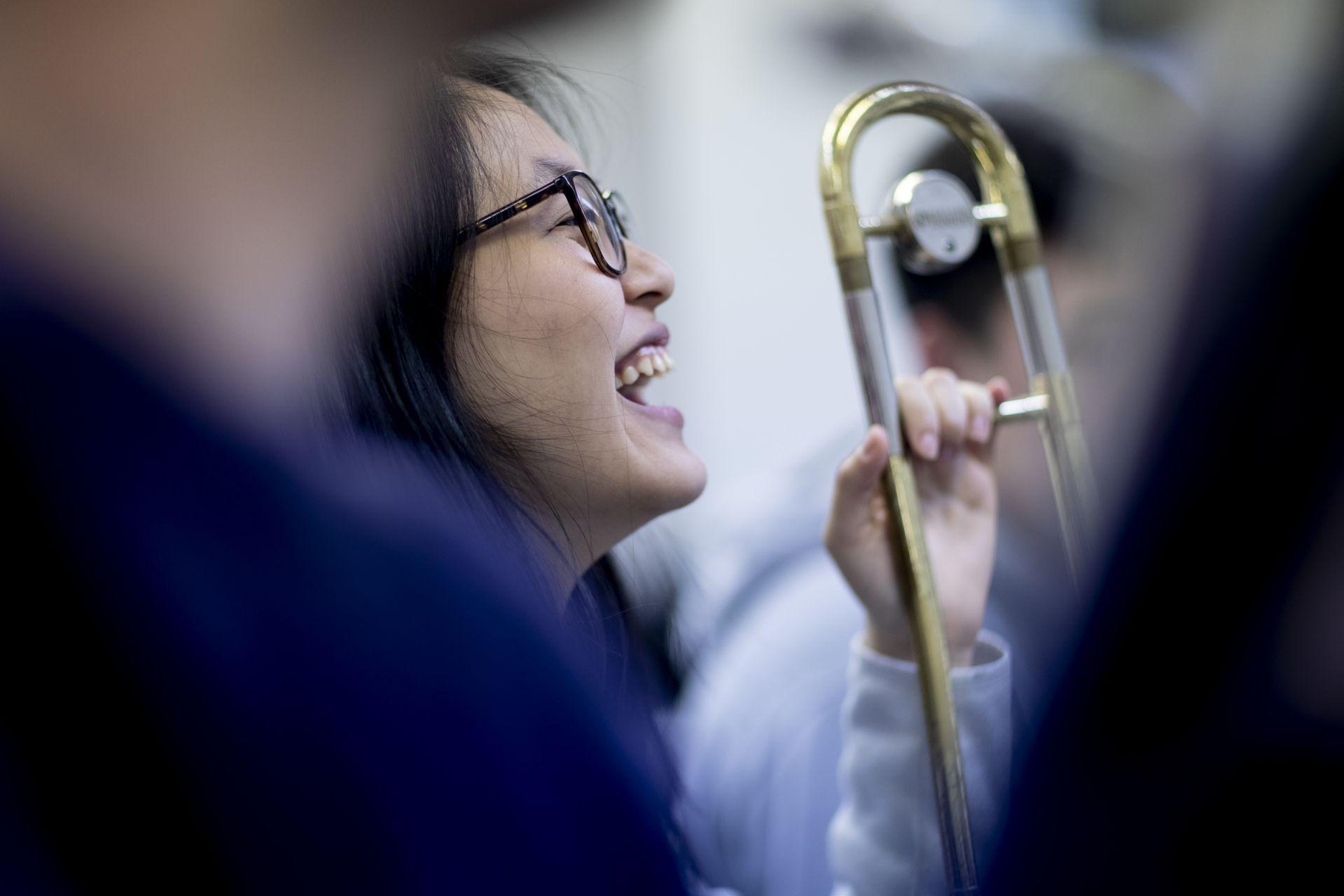 Olin Arts Center Alan Carr with brass ensemble rehearsal