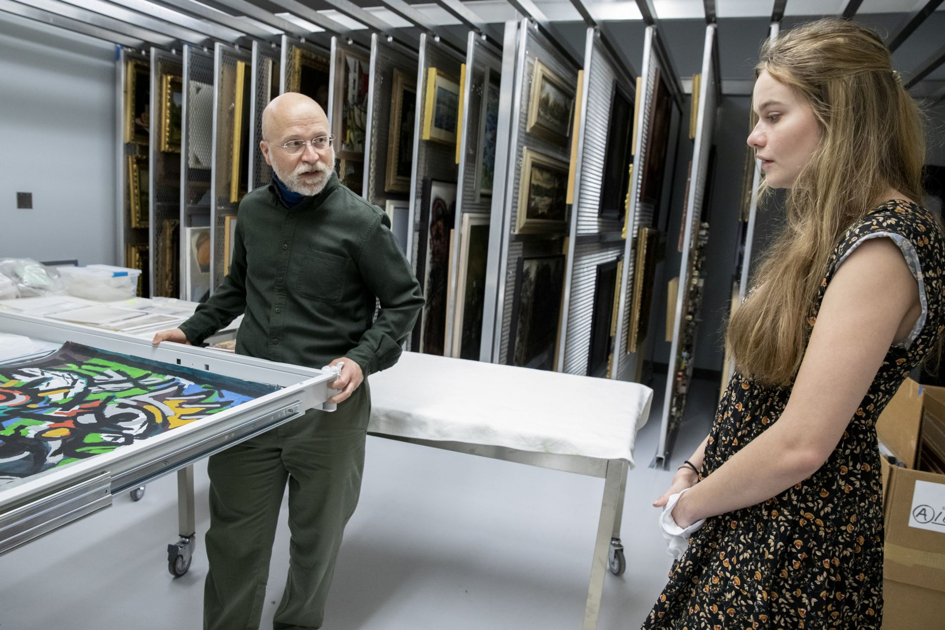 Olin Arts Center The museum's educational intern will learn how to maintain art. Will hopefully take place in the big room where the museum's thousands of items are kept