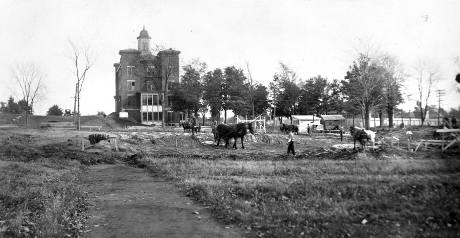 Foundation preparation for the Gray Athletic Building in 1925 required removing marine clay layer. Back then, it was done by horses pulling so-called Fresno scrapers. (Muskie Archives and Special Collections Library)