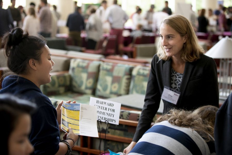 Academic Fair in Pettengill Hall's Perry Atrium. For three hours this morning, faculty spoke with members of the Class of 2023 about their departments' offerings.Ella Ross '19, an AmeriCorps volunteer;