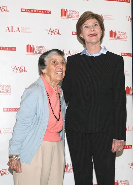Sara Jaffarian '37 with First Lady Laura Bush at an American Library Association.