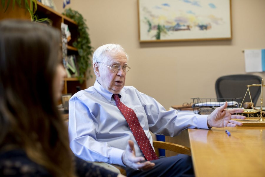 Hon. John B. Beliveau (active retired)Maine District Court PO Box 1345, Lewiston, ME 04243-1345 (207) 795-4884 with student intern and teaching assistant Ashley Woman '22 of Burlington, Mass., in his Lisbon Street courthouse office and in his courtroom, where she records various hearings.