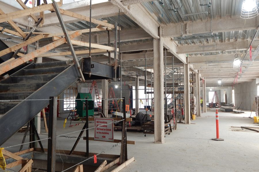 The first floor of the Bonney Science Center. The stuff resembling hot cereal on the structural steel is fireproofing. (Doug Hubley/Bates College)