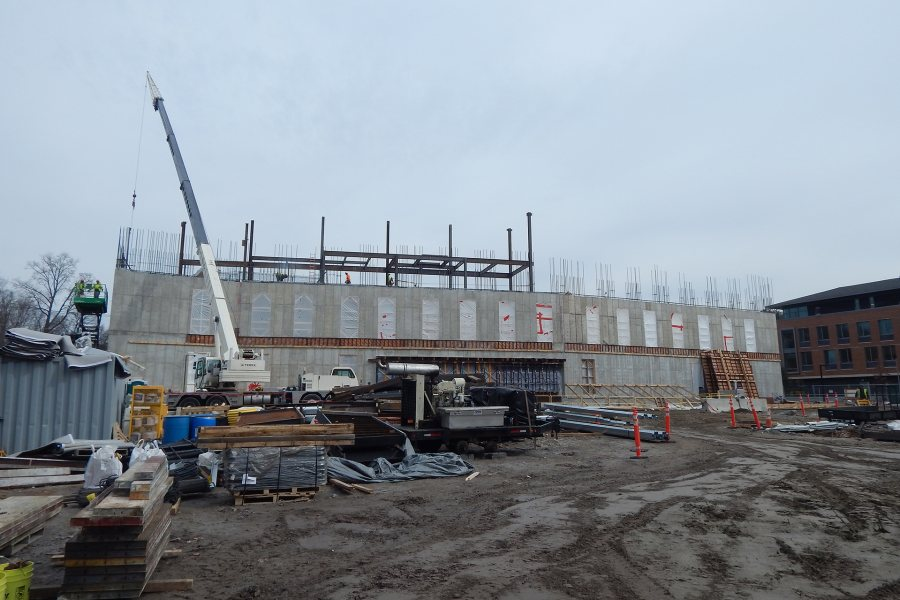The latest structural steel rises above the Bonney center in this view from the south. (Doug Hubley/Bates College)