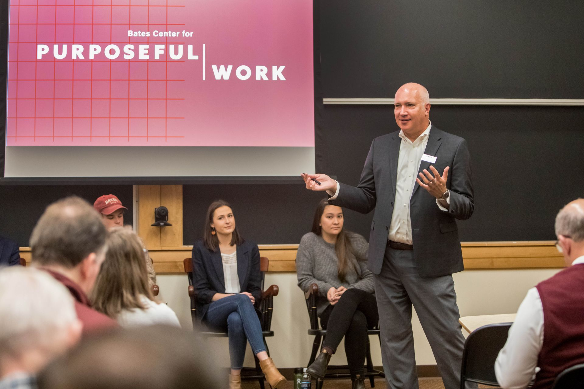 Allen Delong, who leads the Bates Center for Purposeful Work, offer a Back to Bates program in October 2019. (Rene Roy for Bates College)
